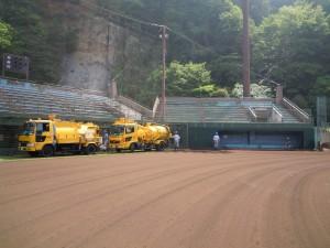 市民球場排水管清掃1